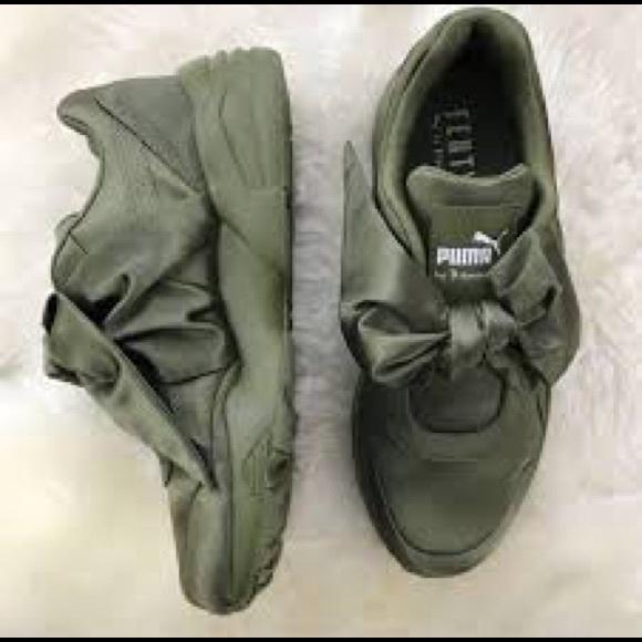15a2cb4dd90 Fenty Puma by Rihanna Bow Sneakers in Olive Branch.  M 5b4033721b3294c0dc94fec0